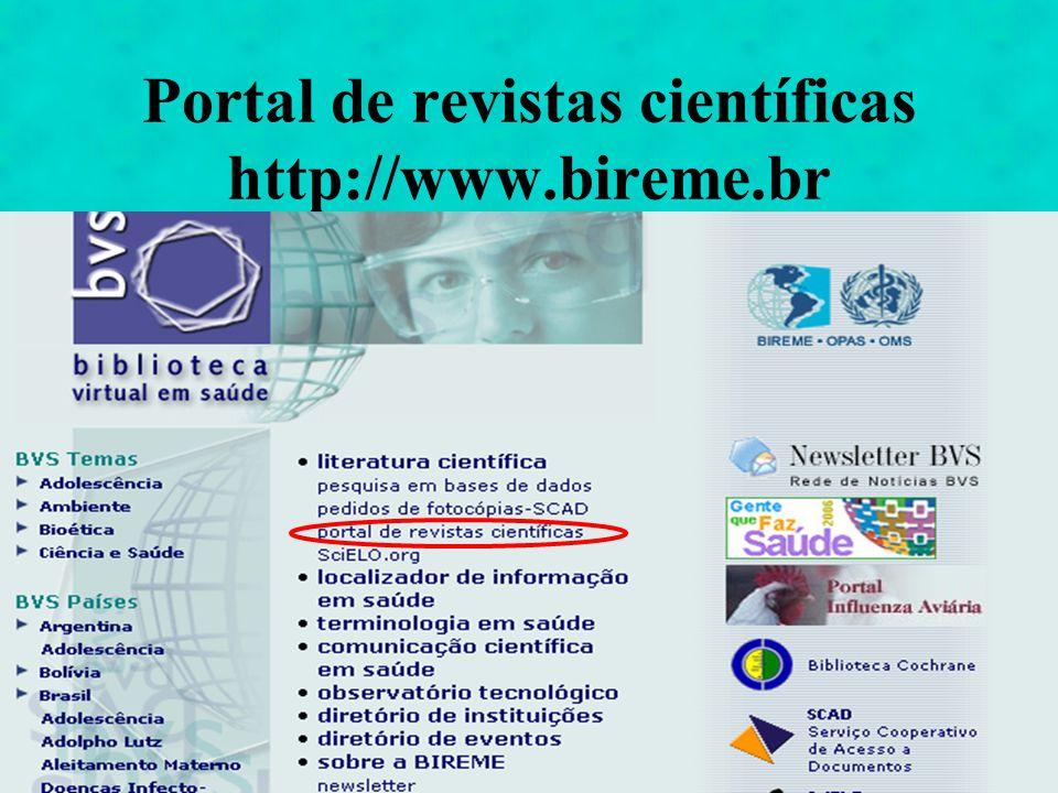 Portal de revistas científicas http://www.bireme.br