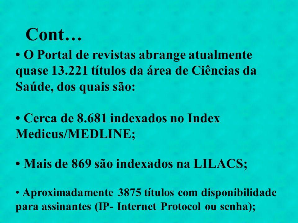 Cont… O Portal de revistas abrange atualmente quase 13.221 títulos da área de Ciências da Saúde, dos quais são: Cerca de 8.681 indexados no Index Medi