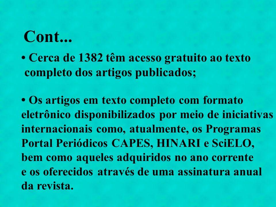 Cont... Cerca de 1382 têm acesso gratuito ao texto completo dos artigos publicados; Os artigos em texto completo com formato eletrônico disponibilizad
