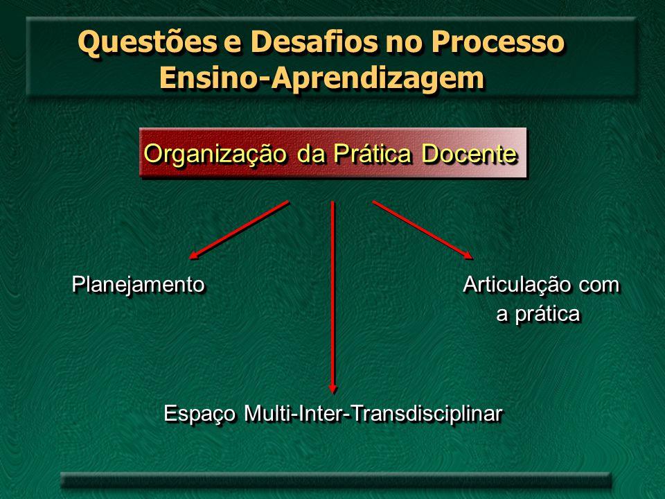 Questões e Desafios no Processo Ensino-Aprendizagem Organização da Prática Docente PlanejamentoPlanejamento Espaço Multi-Inter-Transdisciplinar Articu