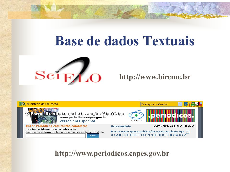 Base de dados Referenciais http://www.bireme.br