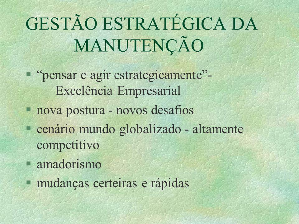 """GESTÃO ESTRATÉGICA DA MANUTENÇÃO §""""pensar e agir estrategicamente""""- Excelência Empresarial §nova postura - novos desafios §cenário mundo globalizado -"""