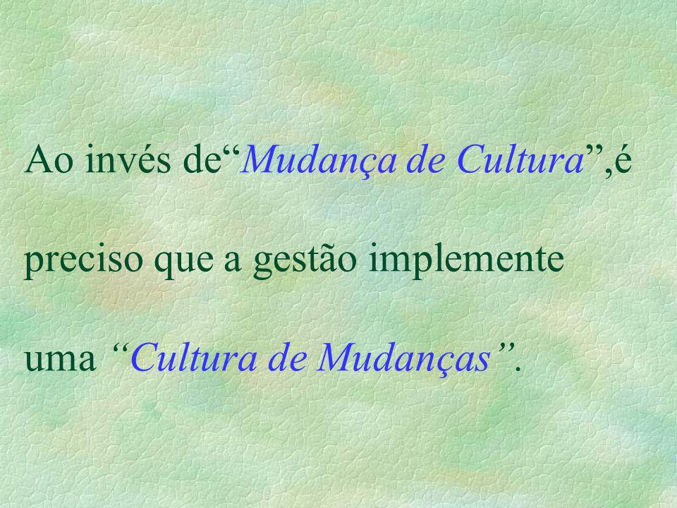 """Ao invés de""""Mudança de Cultura"""",é preciso que a gestão implemente uma """"Cultura de Mudanças""""."""