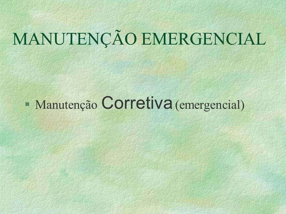 MANUTENÇÃO EMERGENCIAL  Manutenção Corretiva (emergencial)