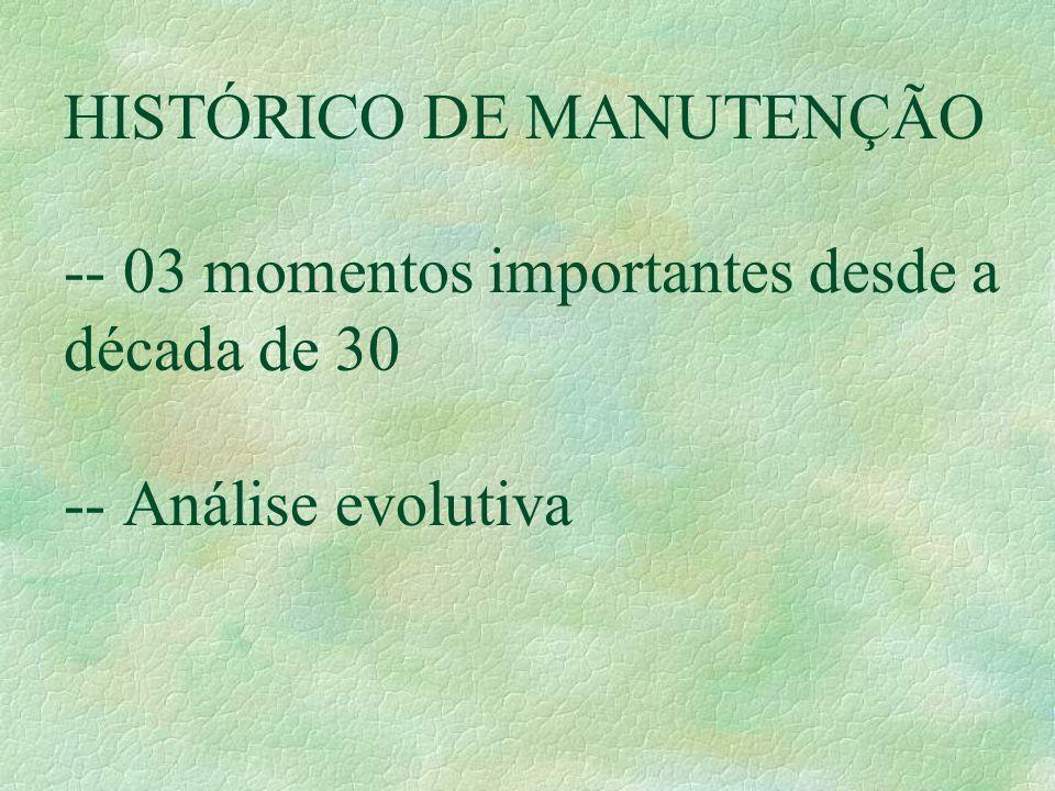 HISTÓRICO DE MANUTENÇÃO -- 03 momentos importantes desde a década de 30 -- Análise evolutiva