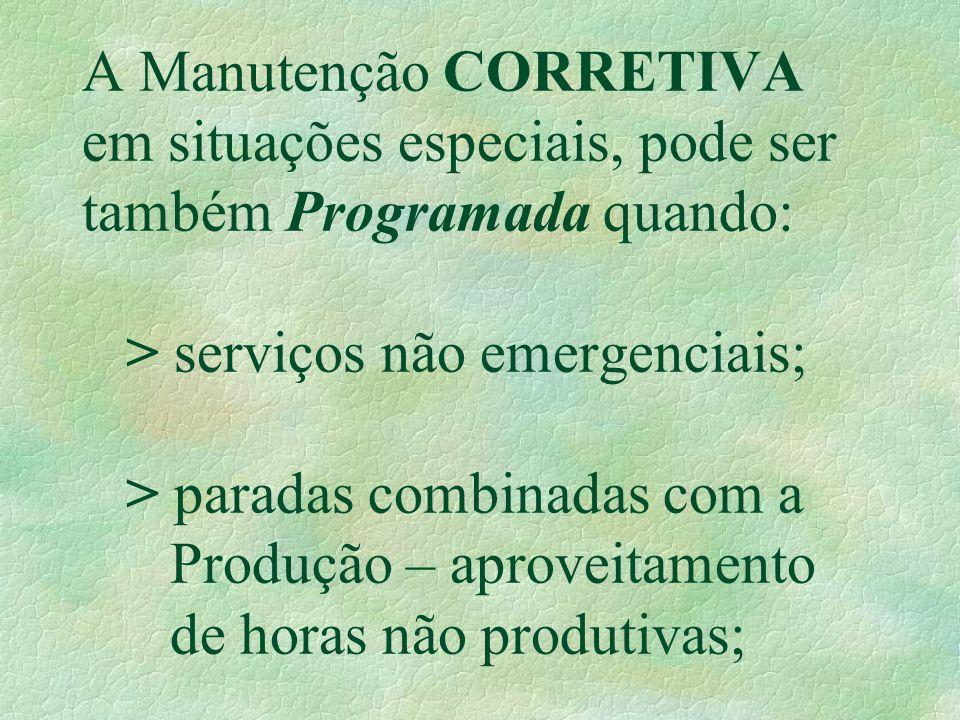 A Manutenção CORRETIVA em situações especiais, pode ser também Programada quando: > serviços não emergenciais; > paradas combinadas com a Produção – a