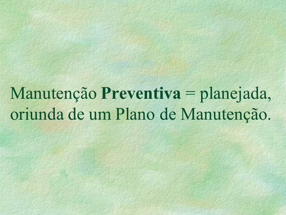 Manutenção Preventiva = planejada, oriunda de um Plano de Manutenção.