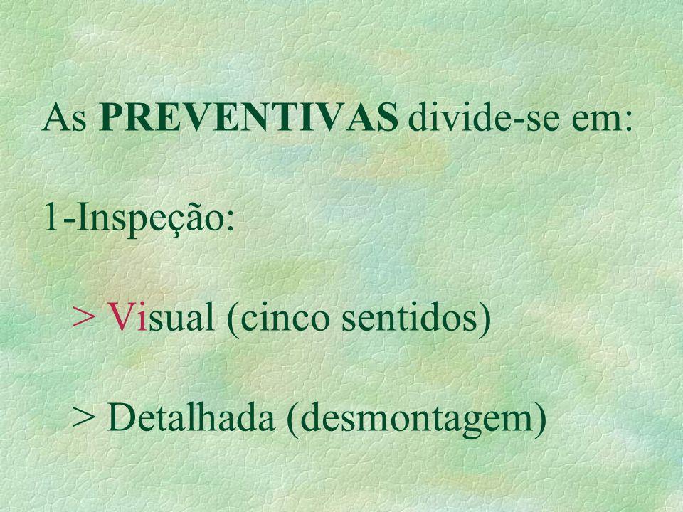 As PREVENTIVAS divide-se em: 1-Inspeção: > Visual (cinco sentidos) > Detalhada (desmontagem)