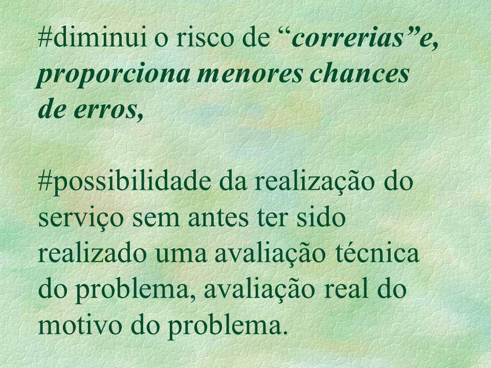 """#diminui o risco de """"correrias""""e, proporciona menores chances de erros, #possibilidade da realização do serviço sem antes ter sido realizado uma avali"""