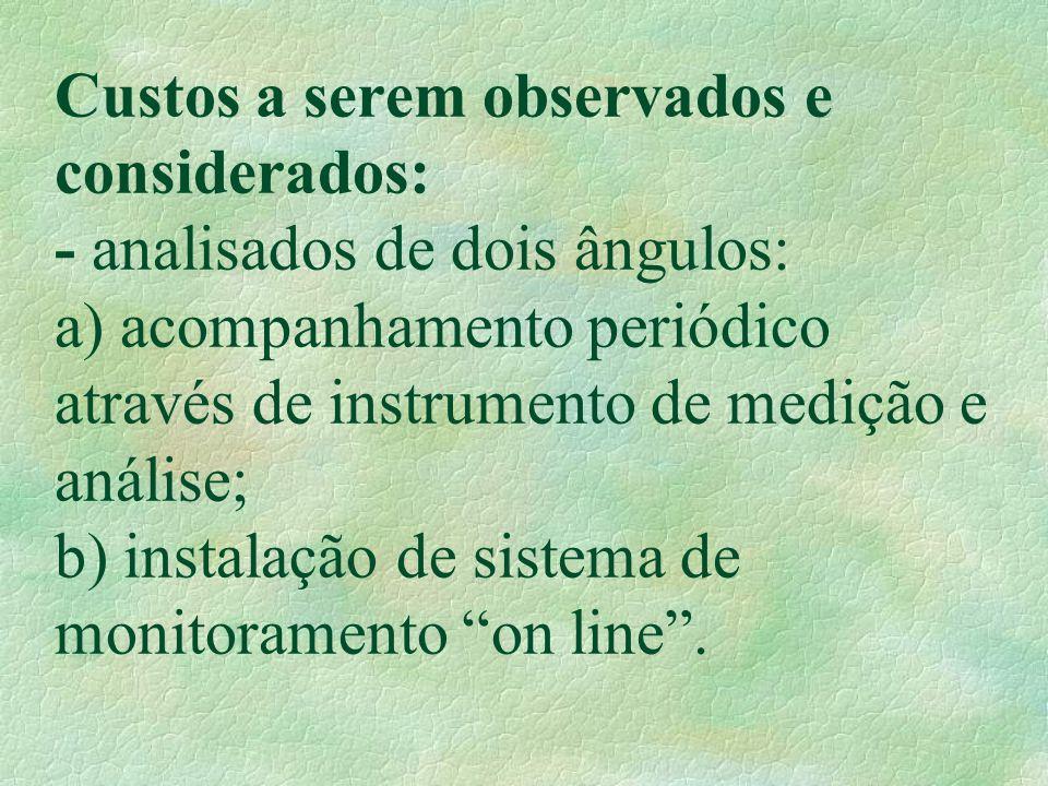 Custos a serem observados e considerados: - analisados de dois ângulos: a) acompanhamento periódico através de instrumento de medição e análise; b) in