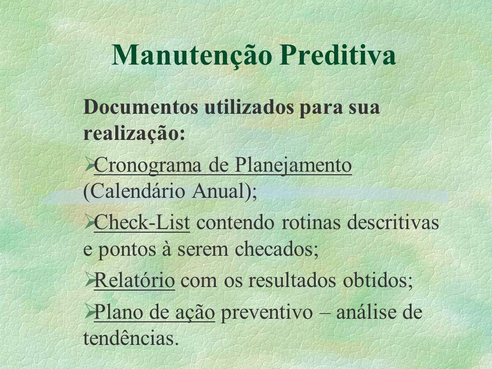 Manutenção Preditiva Documentos utilizados para sua realização:  Cronograma de Planejamento (Calendário Anual);  Check-List contendo rotinas descrit