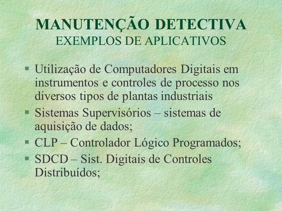 MANUTENÇÃO DETECTIVA EXEMPLOS DE APLICATIVOS §Utilização de Computadores Digitais em instrumentos e controles de processo nos diversos tipos de planta