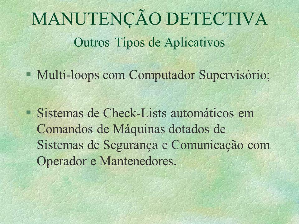 MANUTENÇÃO DETECTIVA Outros Tipos de Aplicativos §Multi-loops com Computador Supervisório; §Sistemas de Check-Lists automáticos em Comandos de Máquina