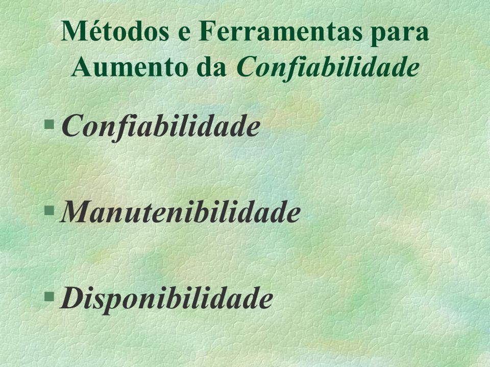 Métodos e Ferramentas para Aumento da Confiabilidade §Confiabilidade §Manutenibilidade §Disponibilidade