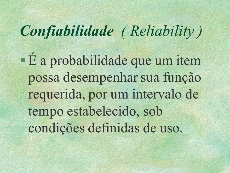 Confiabilidade ( Reliability ) §É a probabilidade que um item possa desempenhar sua função requerida, por um intervalo de tempo estabelecido, sob cond