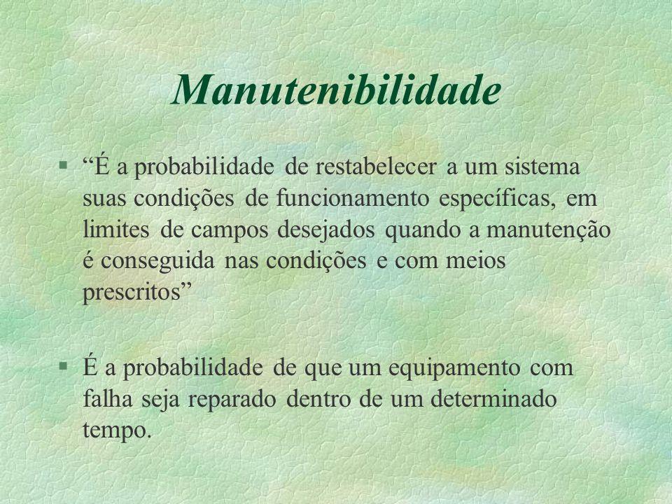 """Manutenibilidade §""""É a probabilidade de restabelecer a um sistema suas condições de funcionamento específicas, em limites de campos desejados quando a"""