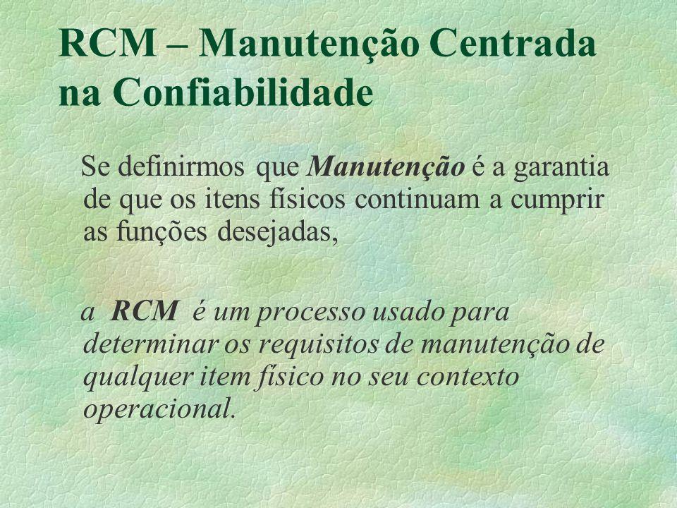RCM – Manutenção Centrada na Confiabilidade Se definirmos que Manutenção é a garantia de que os itens físicos continuam a cumprir as funções desejadas