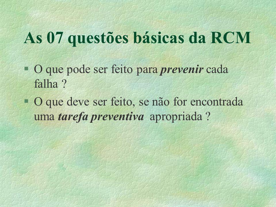 As 07 questões básicas da RCM §O que pode ser feito para prevenir cada falha ? §O que deve ser feito, se não for encontrada uma tarefa preventiva apro