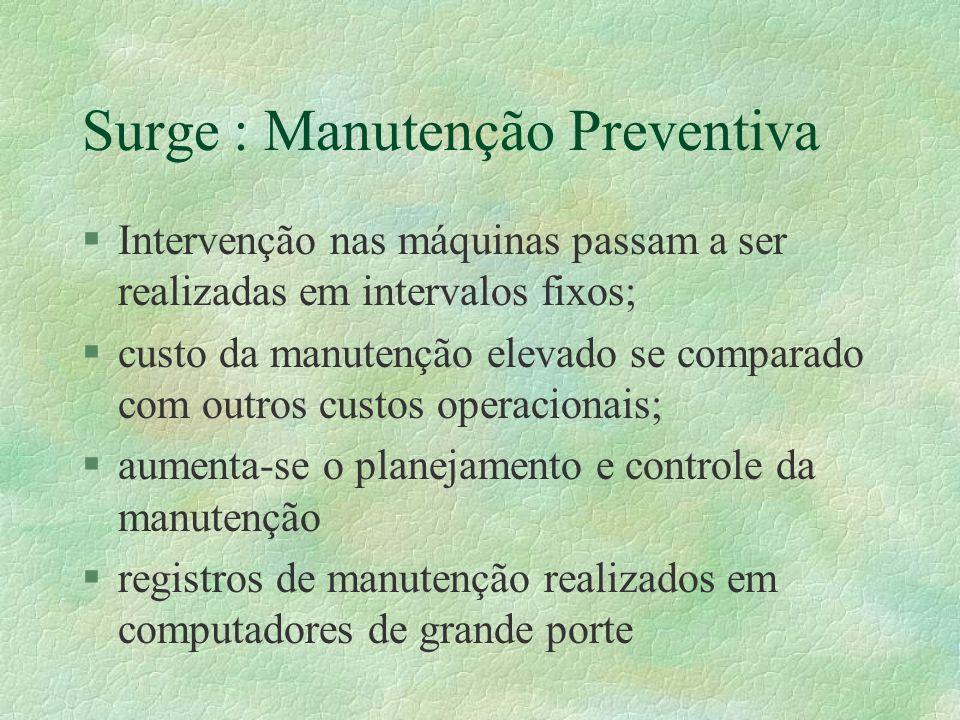 Surge : Manutenção Preventiva §Intervenção nas máquinas passam a ser realizadas em intervalos fixos; §custo da manutenção elevado se comparado com out