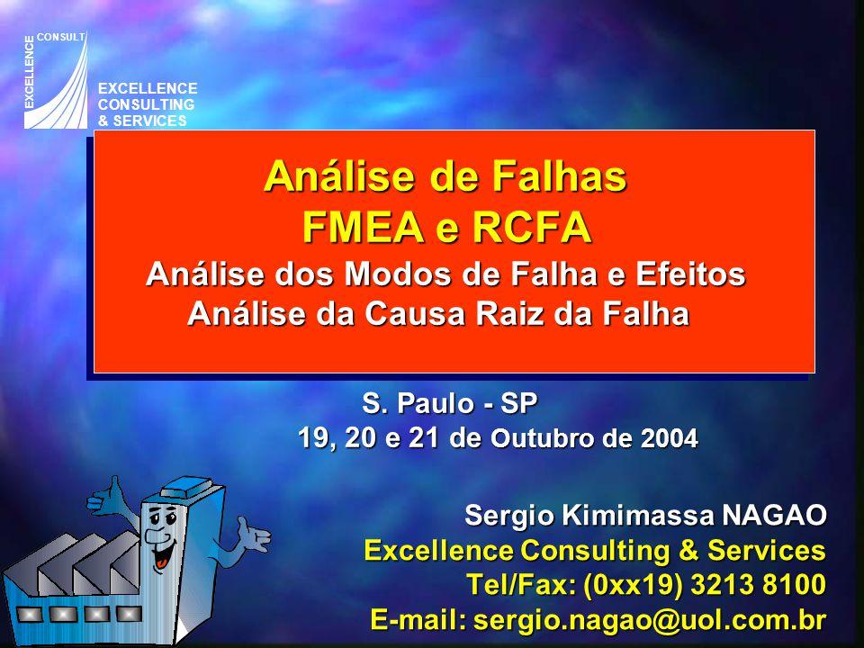 Análise de Falhas FMEA e RCFA Análise dos Modos de Falha e Efeitos Análise da Causa Raiz da Falha S. Paulo - SP 19, 20 e 21 de Outubro de 2004 Sergio