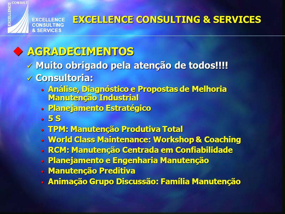 EXCELLENCE CONSULTING & SERVICES CONSULT EXCELLENCE EXCELLENCE CONSULTING & SERVICES u AGRADECIMENTOS Muito obrigado pela atenção de todos!!!! Muito o