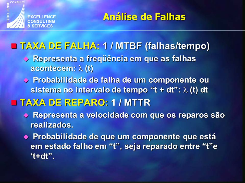 EXCELLENCE CONSULTING & SERVICES CONSULT EXCELLENCE n TAXA DE FALHA: 1 / MTBF (falhas/tempo) u Representa a freqüência em que as falhas acontecem: (t)