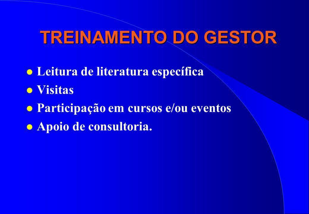 TREINAMENTO DO GESTOR l Leitura de literatura específica l Visitas l Participação em cursos e/ou eventos l Apoio de consultoria.