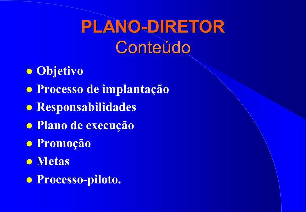PLANO-DIRETOR Conteúdo l Objetivo l Processo de implantação l Responsabilidades l Plano de execução l Promoção l Metas l Processo-piloto.