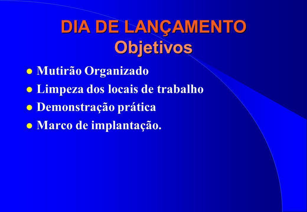 DIA DE LANÇAMENTO Objetivos l Mutirão Organizado l Limpeza dos locais de trabalho l Demonstração prática l Marco de implantação.