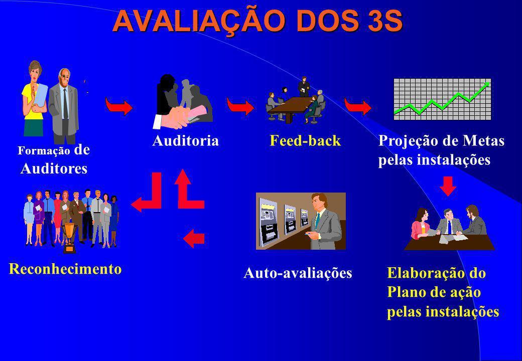 AVALIAÇÃO DOS 3S AuditoriaFeed-backProjeção de Metas pelas instalações Elaboração do Plano de ação pelas instalações Auto-avaliações Reconhecimento Fo