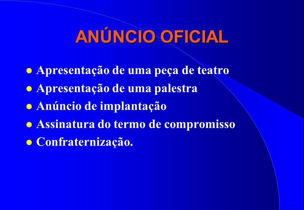 ANÚNCIO OFICIAL l Apresentação de uma peça de teatro l Apresentação de uma palestra l Anúncio de implantação l Assinatura do termo de compromisso l Co
