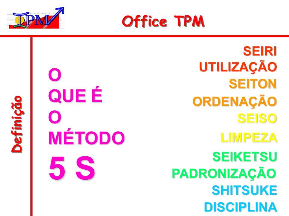 Definição Office TPM O QUE É OMÉTODO 5 S SEIRI UTILIZAÇÃO SEITON ORDENAÇÃO SEISO LIMPEZA SEIKETSU PADRONIZAÇÃO SHITSUKE DISCIPLINA