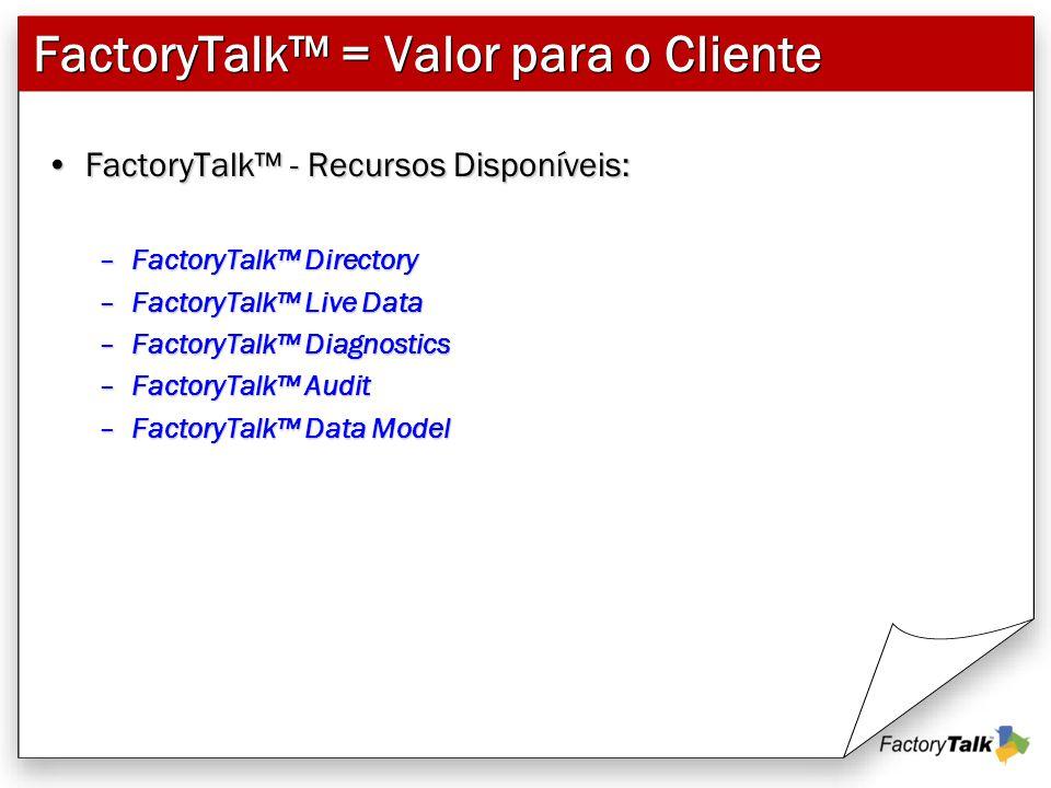 FactoryTalk™ = Valor para o Cliente FactoryTalk™ - Recursos Disponíveis:FactoryTalk™ - Recursos Disponíveis: –FactoryTalk™ Directory –FactoryTalk™ Liv