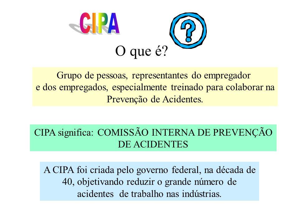 Grupo de pessoas, representantes do empregador e dos empregados, especialmente treinado para colaborar na Prevenção de Acidentes.
