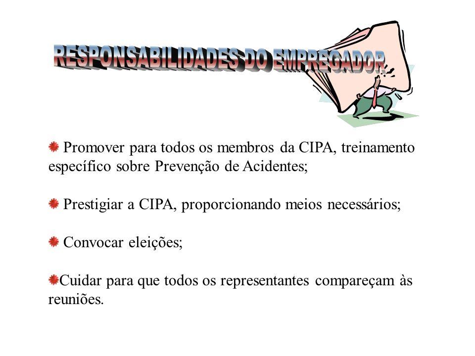 Promover o relacionamento da CIPA com o SESMT, quando houver; Divulgar as decisões da CIPA a todos os trabalhadores do estabelecimento; Encaminhar os