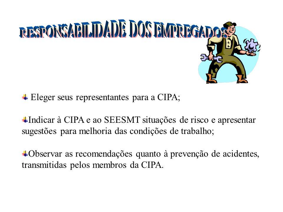 Promover para todos os membros da CIPA, treinamento específico sobre Prevenção de Acidentes; Prestigiar a CIPA, proporcionando meios necessários; Conv