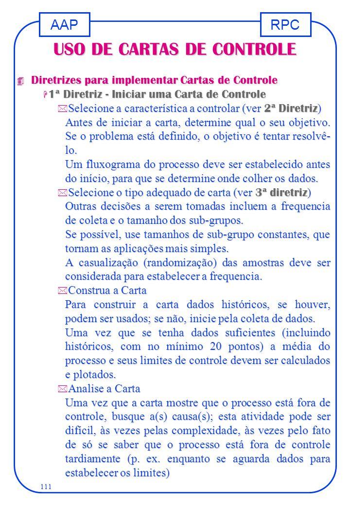 RPCAAP 111 USO DE CARTAS DE CONTROLE 4 Diretrizes para implementar Cartas de Controle H 1ª Diretriz - Iniciar uma Carta de Controle  Selecione a cara