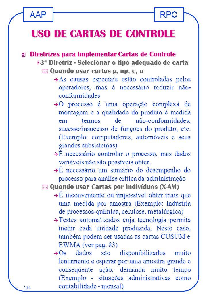 RPCAAP 114 USO DE CARTAS DE CONTROLE 4 Diretrizes para implementar Cartas de Controle H 3ª Diretriz - Selecionar o tipo adequado de carta * Quando usa