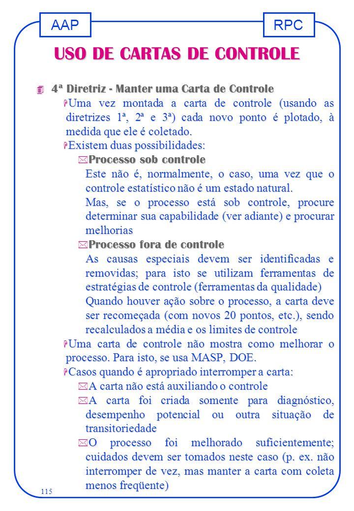 RPCAAP 115 USO DE CARTAS DE CONTROLE 4 4ª Diretriz - Manter uma Carta de Controle H Uma vez montada a carta de controle (usando as diretrizes 1ª, 2ª e