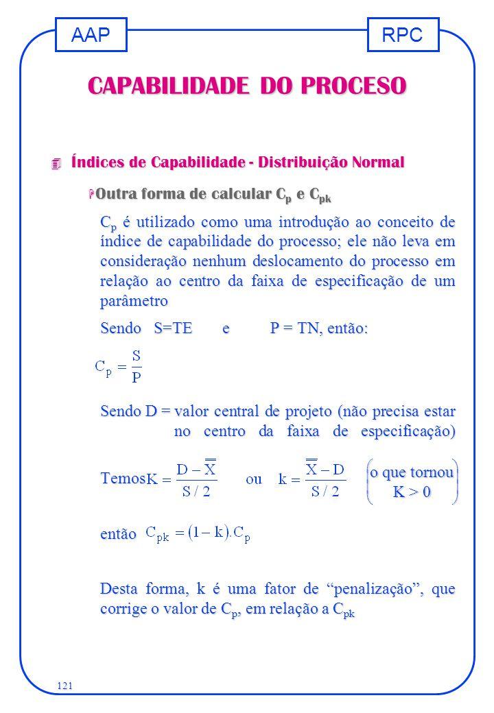 RPCAAP 121 CAPABILIDADE DO PROCESO 4 Índices de Capabilidade - Distribuição Normal H Outra forma de calcular C p e C pk C p é utilizado como uma intro