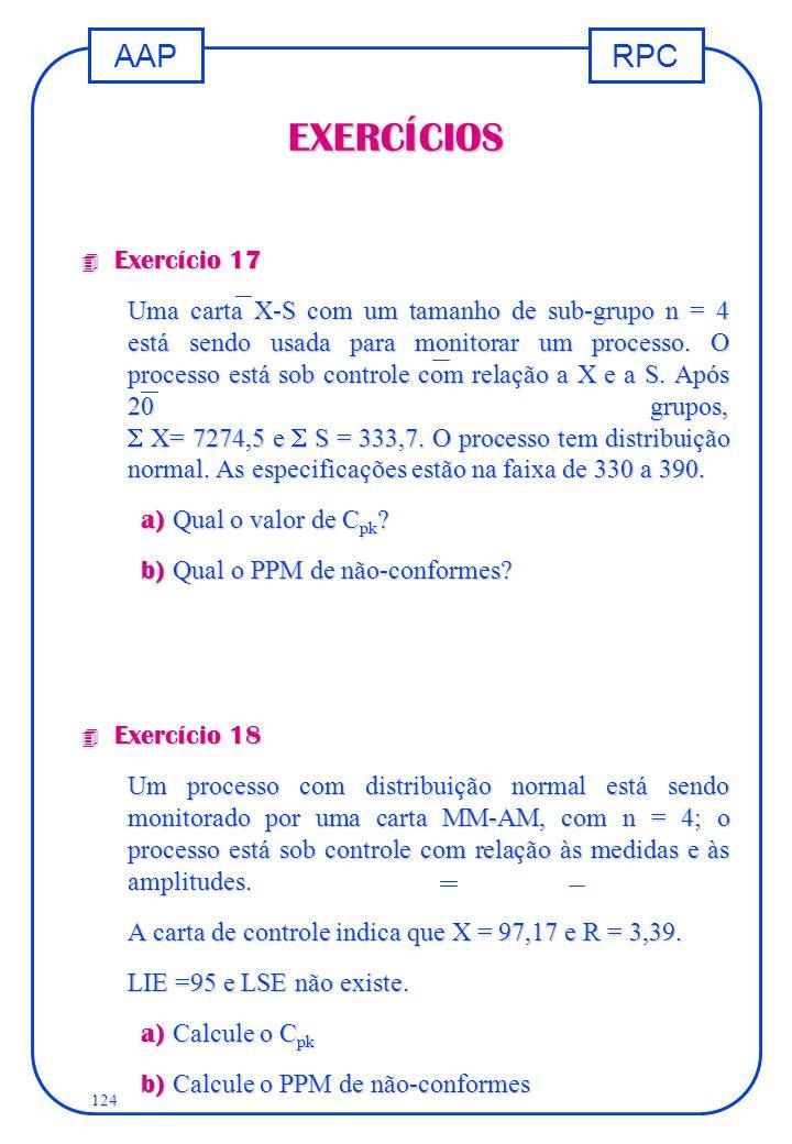RPCAAP 124 EXERCÍCIOS 4 Exercício 17 Uma carta X-S com um tamanho de sub-grupo n = 4 está sendo usada para monitorar um processo. O processo está sob
