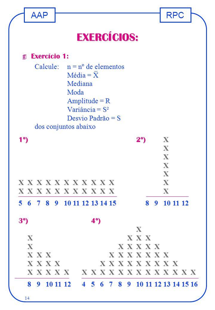 RPCAAP 14 EXERCÍCIOS: 4 Exercício 1: Calcule:n = nº de elementos Média = X MedianaModa Amplitude = R Variância = S² Desvio Padrão = S dos conjuntos ab