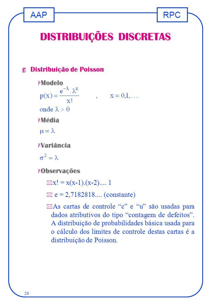 RPCAAP 26 DISTRIBUIÇÕES DISCRETAS 4 Distribuição de Poisson H Modelo H Média H Variância H Observações * x! = x(x-1).(x-2).... 1   e = 2,7182818....