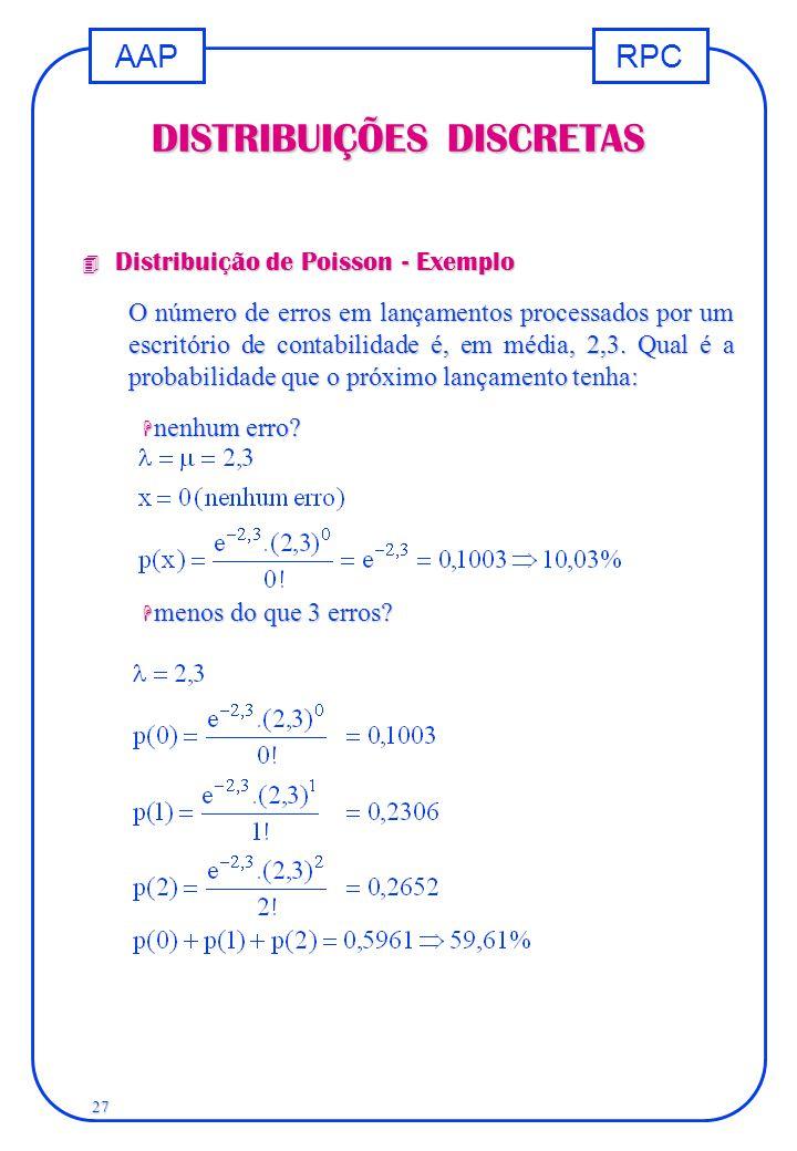 RPCAAP 27 DISTRIBUIÇÕES DISCRETAS 4 Distribuição de Poisson - Exemplo O número de erros em lançamentos processados por um escritório de contabilidade