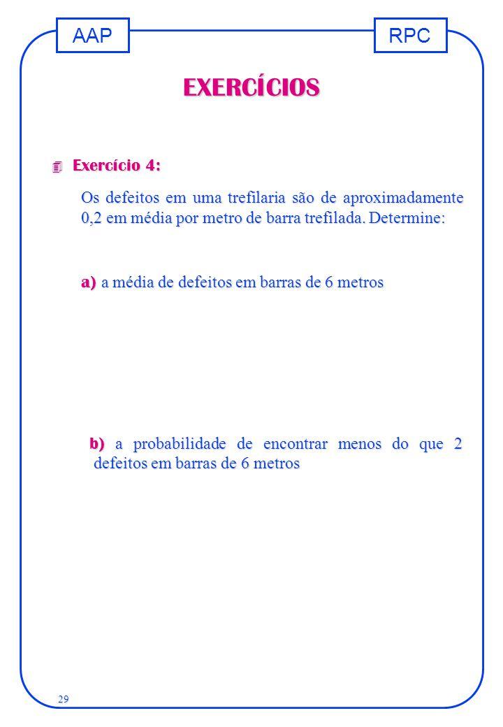 RPCAAP 29 EXERCÍCIOS 4 Exercício 4: Os defeitos em uma trefilaria são de aproximadamente 0,2 em média por metro de barra trefilada. Determine: a) a mé