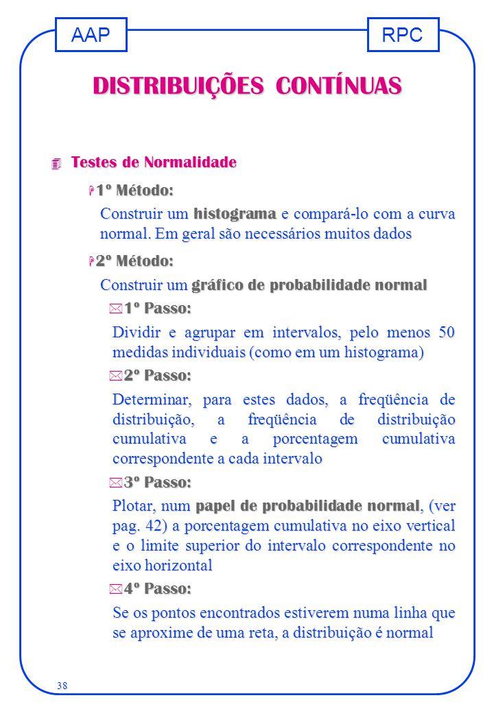RPCAAP 38 DISTRIBUIÇÕES CONTÍNUAS 4 Testes de Normalidade H 1º Método: Construir um histograma e compará-lo com a curva normal. Em geral são necessári