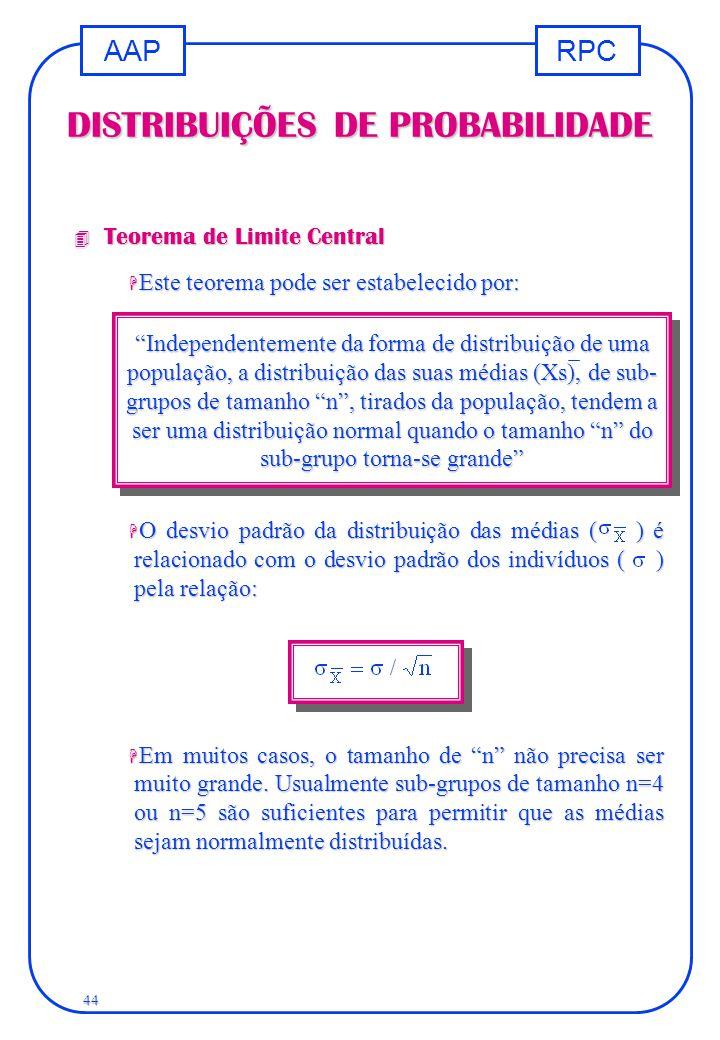 RPCAAP 44 DISTRIBUIÇÕES DE PROBABILIDADE 4 Teorema de Limite Central H Este teorema pode ser estabelecido por: H O desvio padrão da distribuição das m