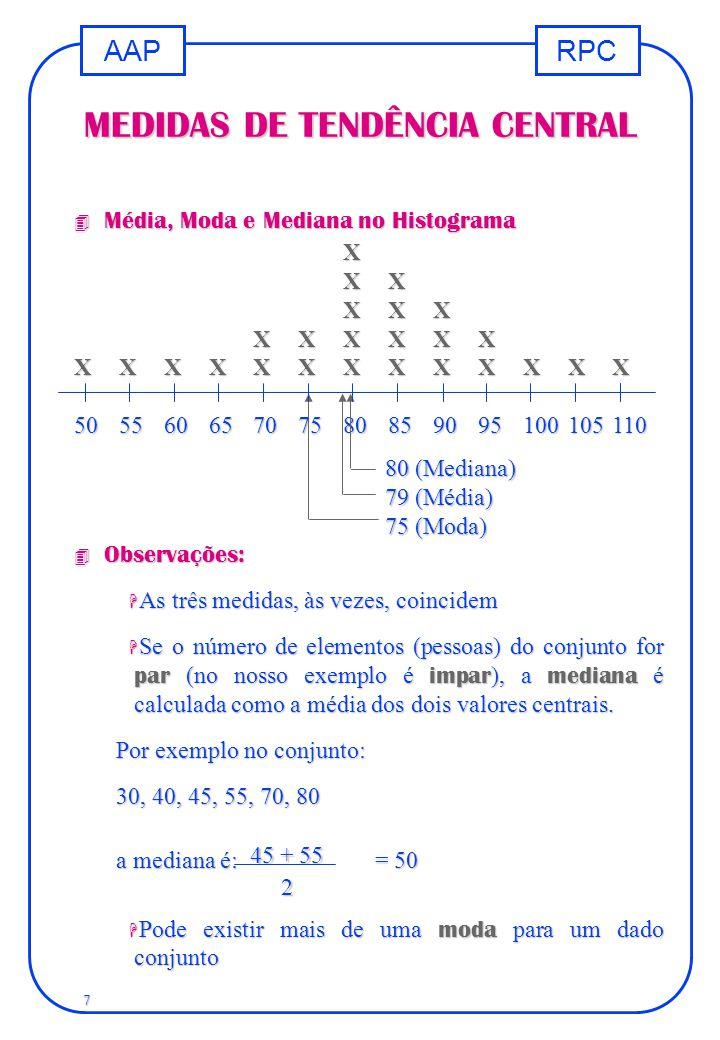 RPCAAP 7 X XX XXX XXXXXX XXXXXXXXXXXXX 50556065707580859095100105110 MEDIDAS DE TENDÊNCIA CENTRAL 80 (Mediana) 79 (Média) 75 (Moda) 4 Média, Moda e Me