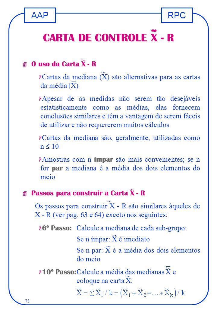 RPCAAP 73 CARTA DE CONTROLE X - R 4 O uso da Carta X - R H Cartas da mediana (X) são alternativas para as cartas da média (X) H Apesar de as medidas n
