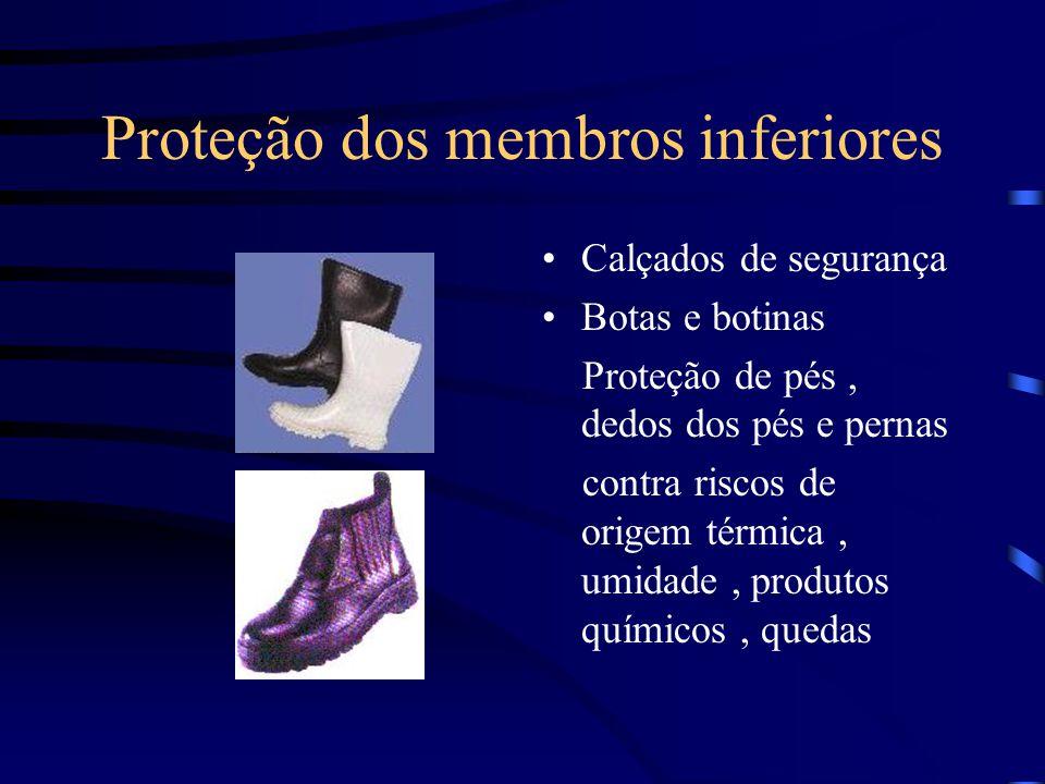 Proteção dos membros inferiores Calçados de segurança Botas e botinas Proteção de pés, dedos dos pés e pernas contra riscos de origem térmica, umidade